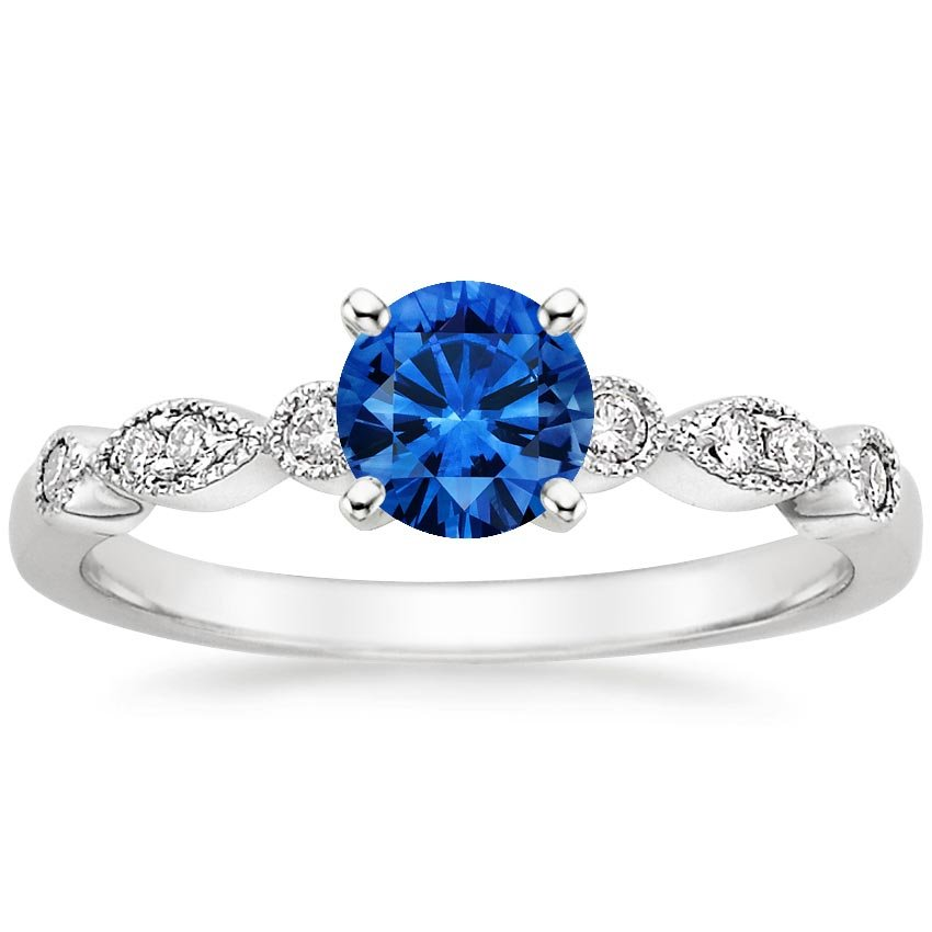 18K White Gold Sapphire Tiara Diamond Ring, top view