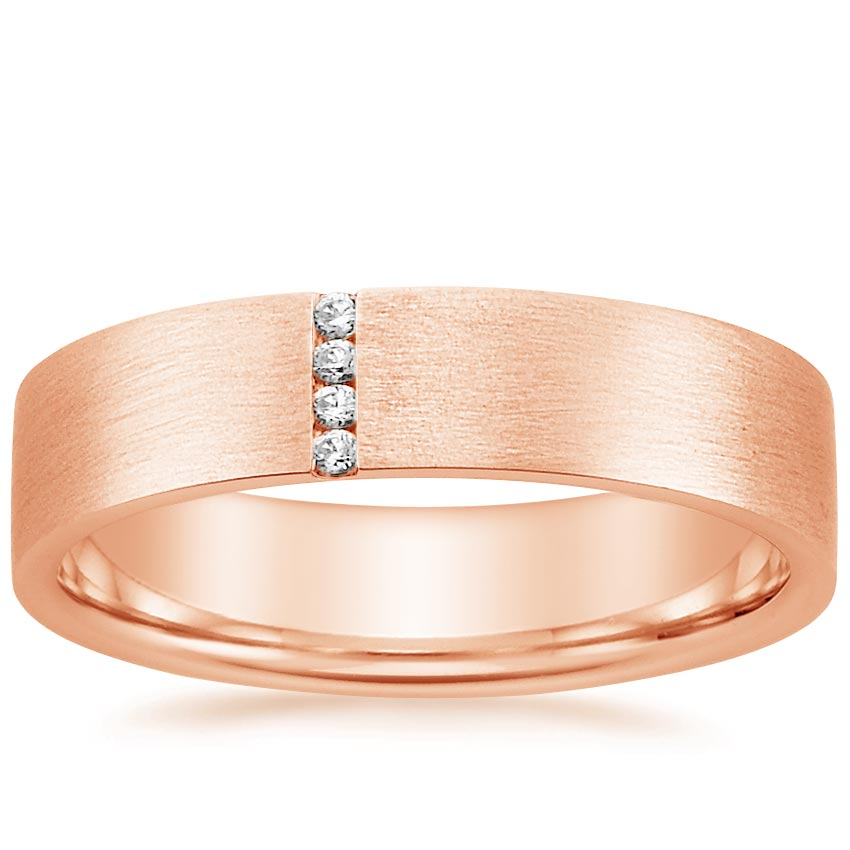 14K Rose Gold Horizon Ring, top view