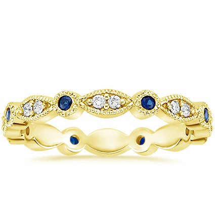 18K Yellow Gold Tiara Eternity Diamond and Sapphire Ring, top view