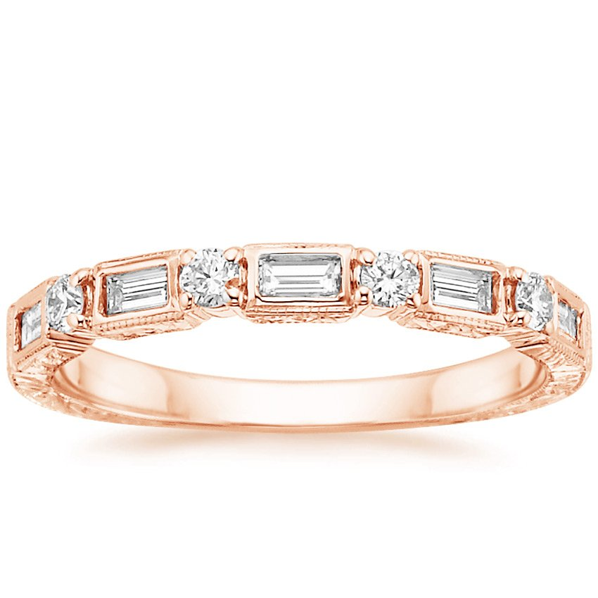 14K Rose Gold Vintage Diamond Baguette Ring (1/3 ct. tw.), top view