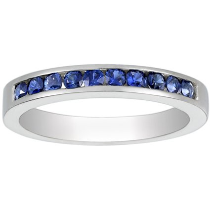 18K White Gold Channel Set Round Sapphire Ring, top view
