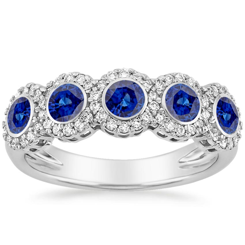 18k white gold quintessa sapphire and diamond ring - Sapphire Wedding Ring