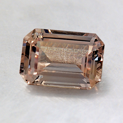 7.5x5.4mm Unheated Light Peach Emerald Sapphire, top view