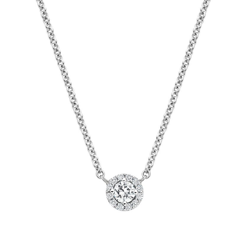 18K White Gold Diamond Halo Necklace, top view