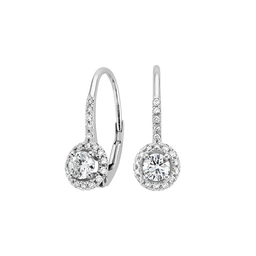 Halo Enchant Drop Earrings (2/3 ct. tw.) in 18K White Gold