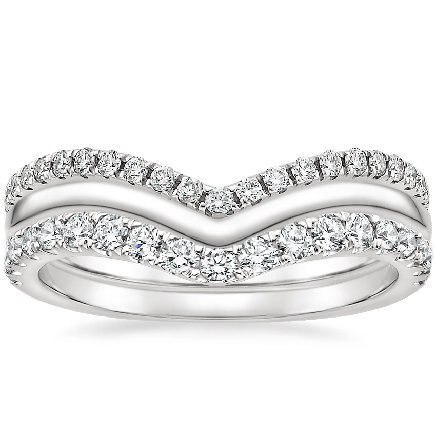 Chevron Diamond Ring Stack (1/2 ct. tw.) in Platinum