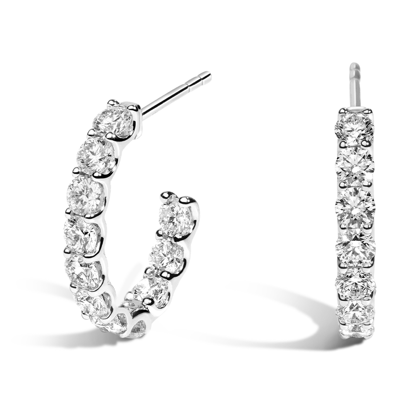 Inside Out Round Diamond Hoops