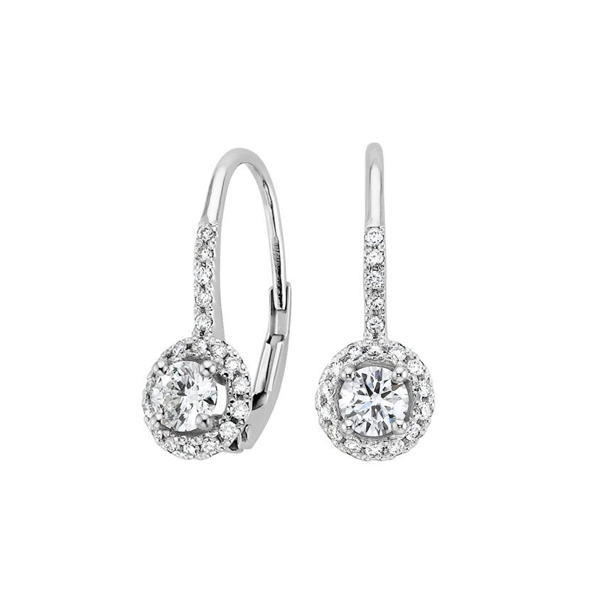 18K White Gold Halo Enchant Drop Earrings (3/4 ct. tw.), top view