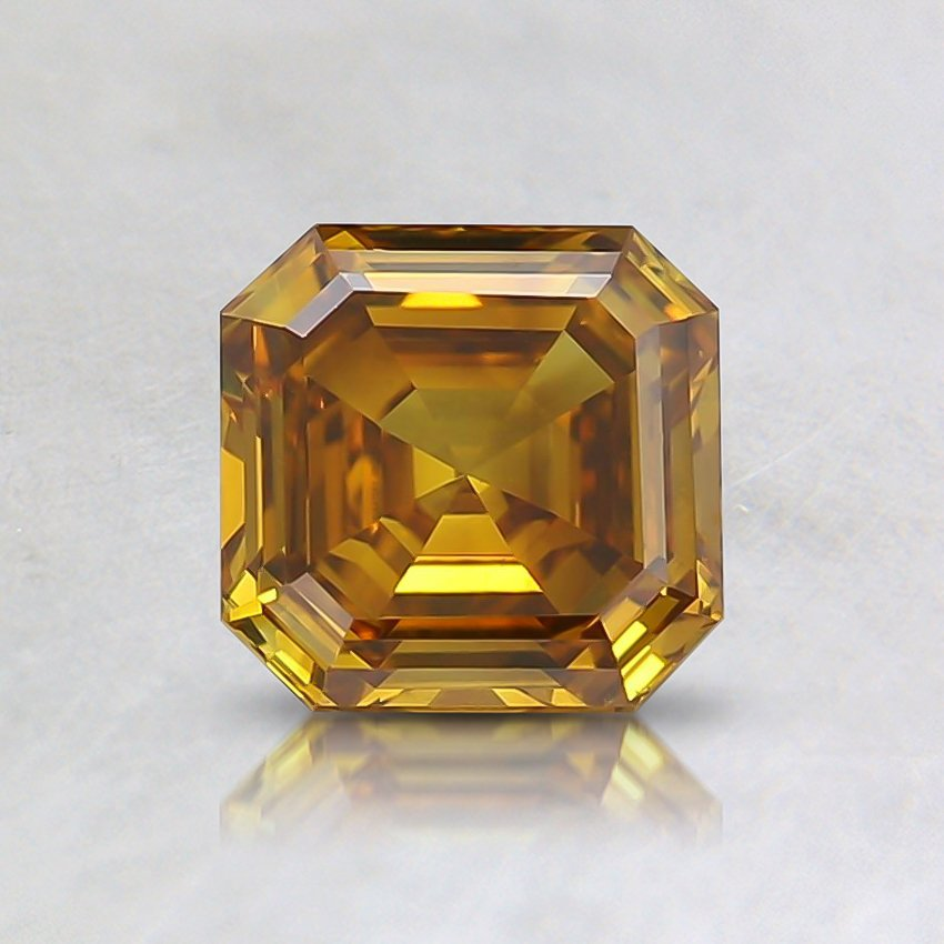 0.75 Ct. Lab Created Fancy Deep Brownish Yellow Asscher Diamond