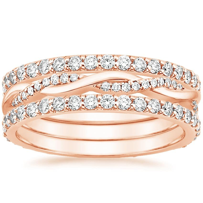 Rose Gold Twisted Vine Diamond Ring Stack (1 1/4 ct. tw.)