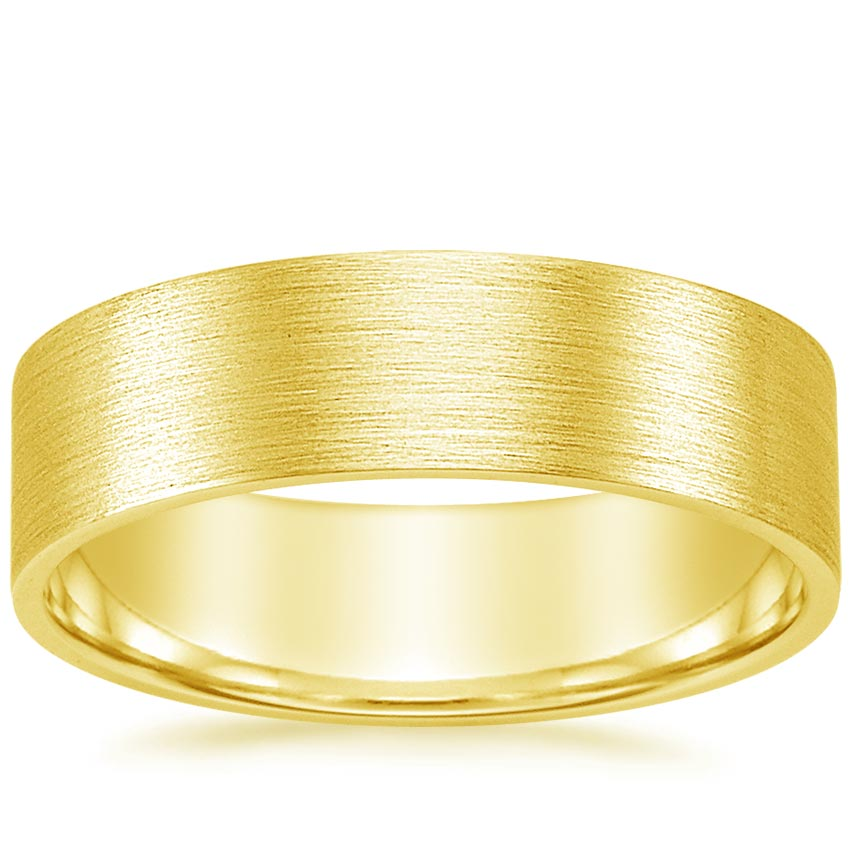 18K Yellow Gold 7mm Flat Matte Comfort Fit Wedding Ring, top view