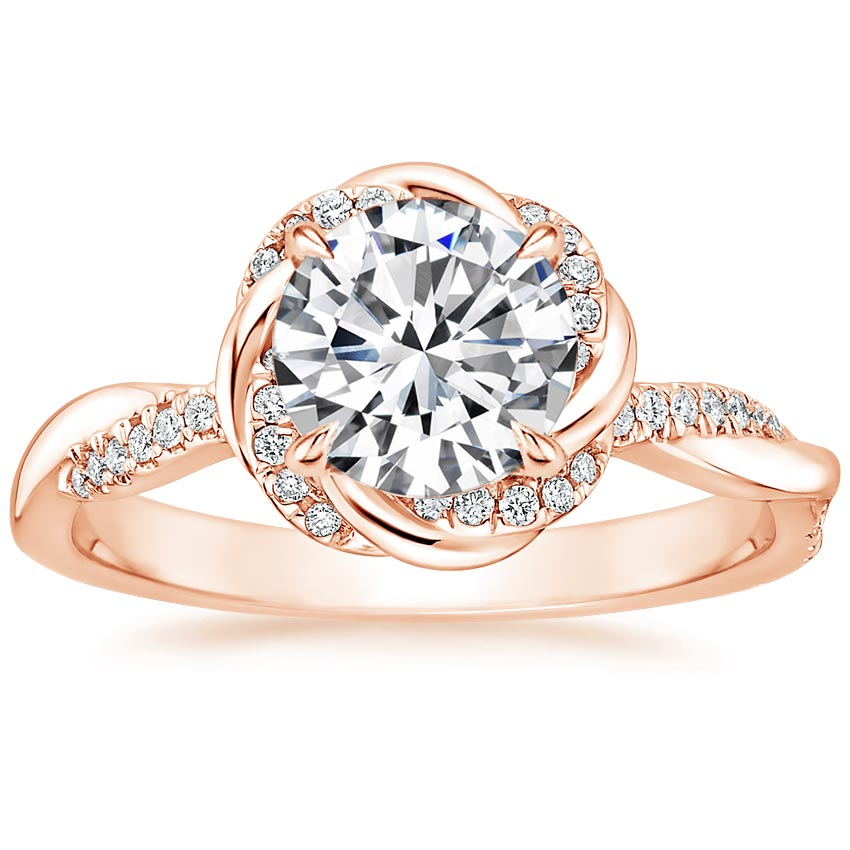 Round 14K Rose Gold Oceana Diamond Ring