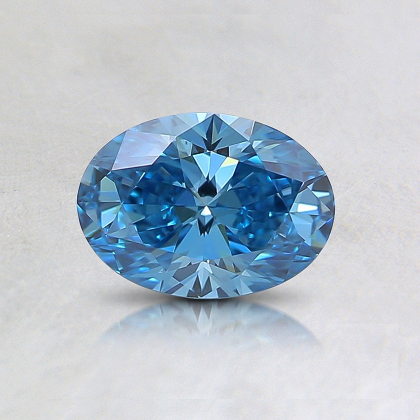 0.50 Ct. Fancy Intense Greenish Blue Oval Lab Created Diamond