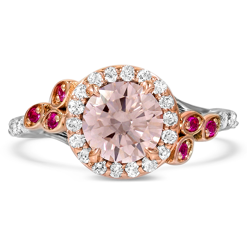 Custom Nature-Inspired Fancy Pink Diamond Ring with Ruby and Diamond Accents