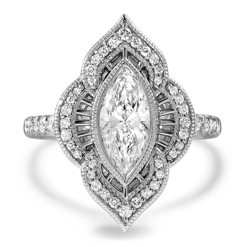 Custom Vintage Inspired Filigree Halo Diamond Ring