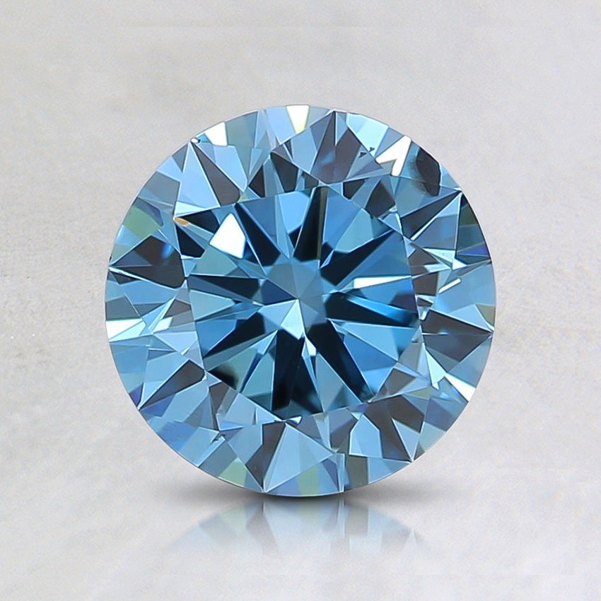 1.04 Ct. Fancy Vivid Greenish Blue Round Lab Created Diamond