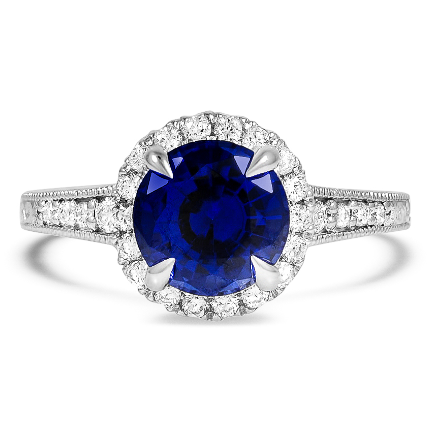 Custom Antique-Inspired Sapphire Halo Diamond Ring