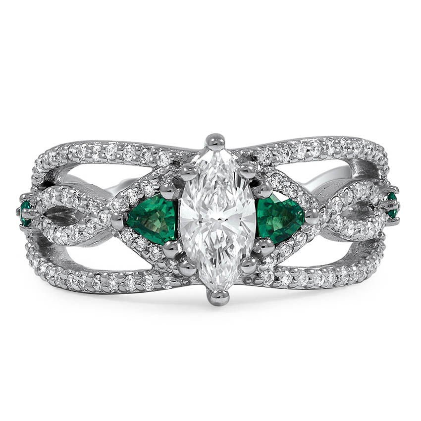 Custom Open Strand Engagement Ring with Trillion-Shaped Emeralds