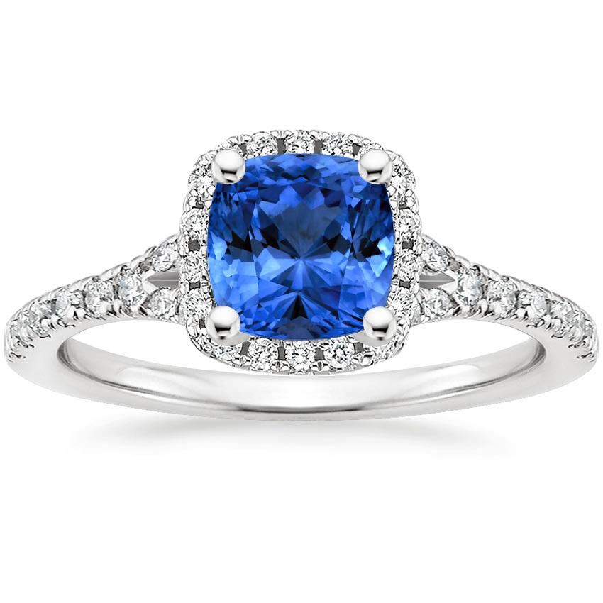 Sapphire Joy Diamond Ring in 18K White Gold with 6x6mm Cushion Blue Sapphire