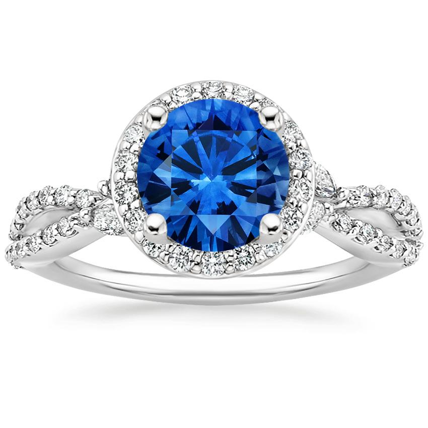 Sapphire Luxe Willow Halo Diamond Ring (1/2 ct. tw.) in Platinum with 7mm Round Blue Sapphire