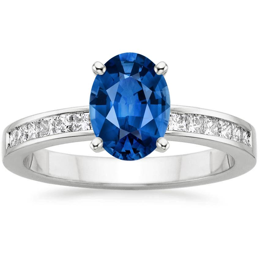 18K White Gold Sapphire Petite Channel Set Princess Diamond Ring (1/4 ct. tw.), top view