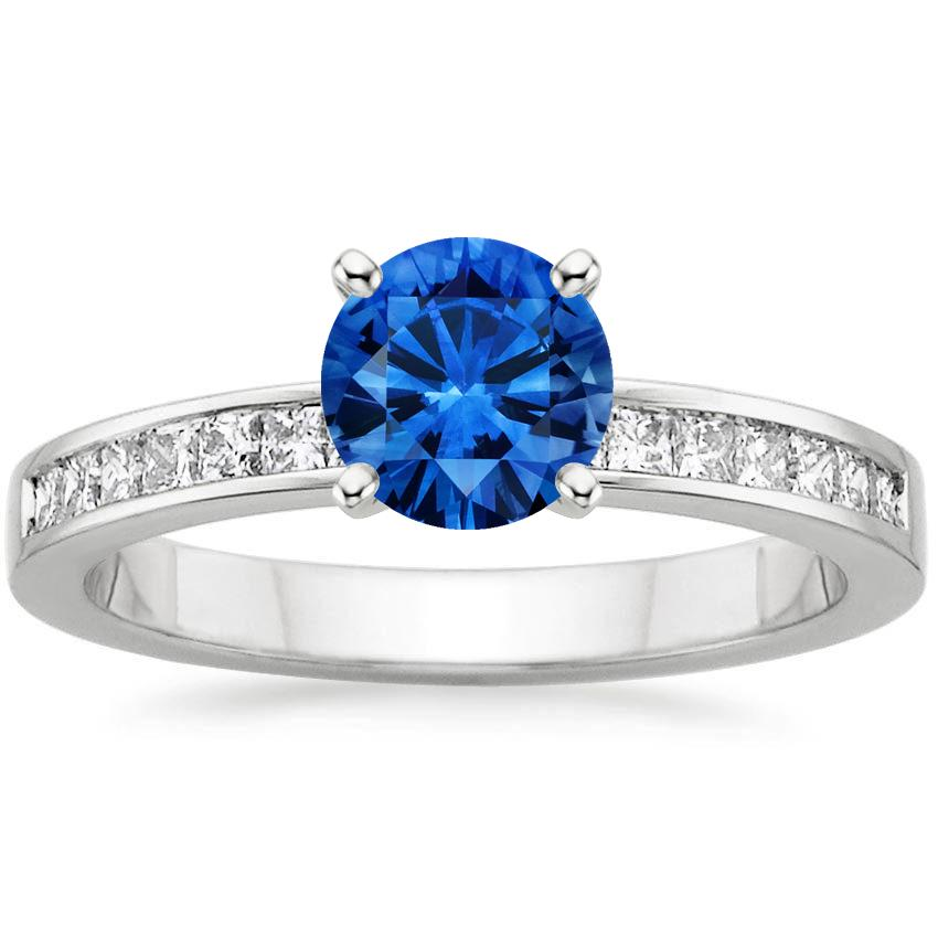 Sapphire Petite Channel Set Princess Diamond Ring (1/4 ct. tw.) in Platinum with 6mm Round Blue Sapphire