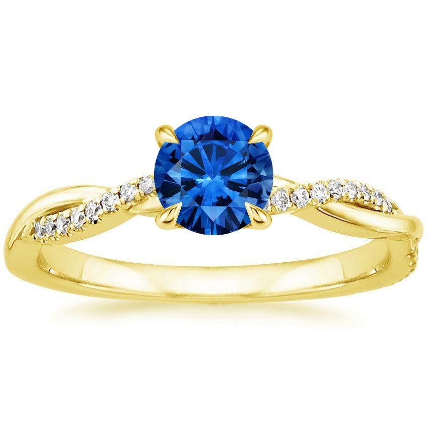 18K Yellow Gold Sapphire Petite Twisted Vine Diamond Ring, top view