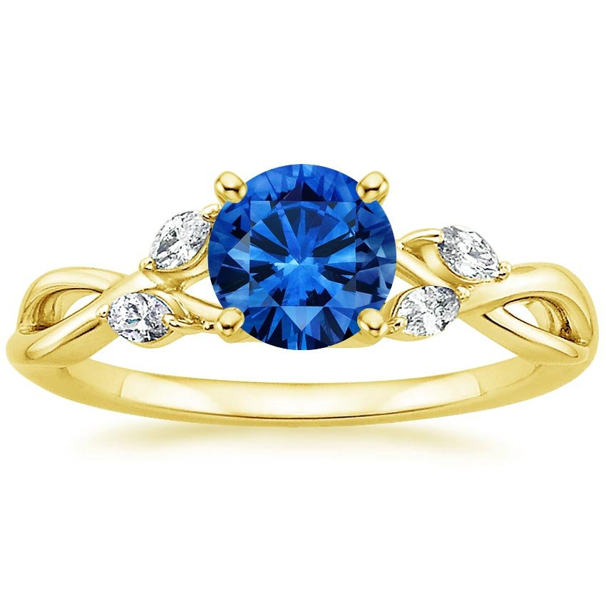 18K Yellow Gold Sapphire Willow Diamond Ring, top view