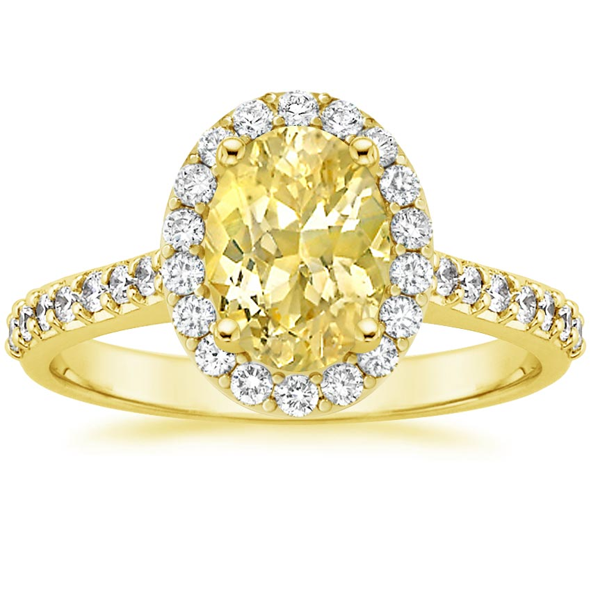 18K Yellow Gold Sapphire Fancy Halo Diamond Ring with Side Stones, top view