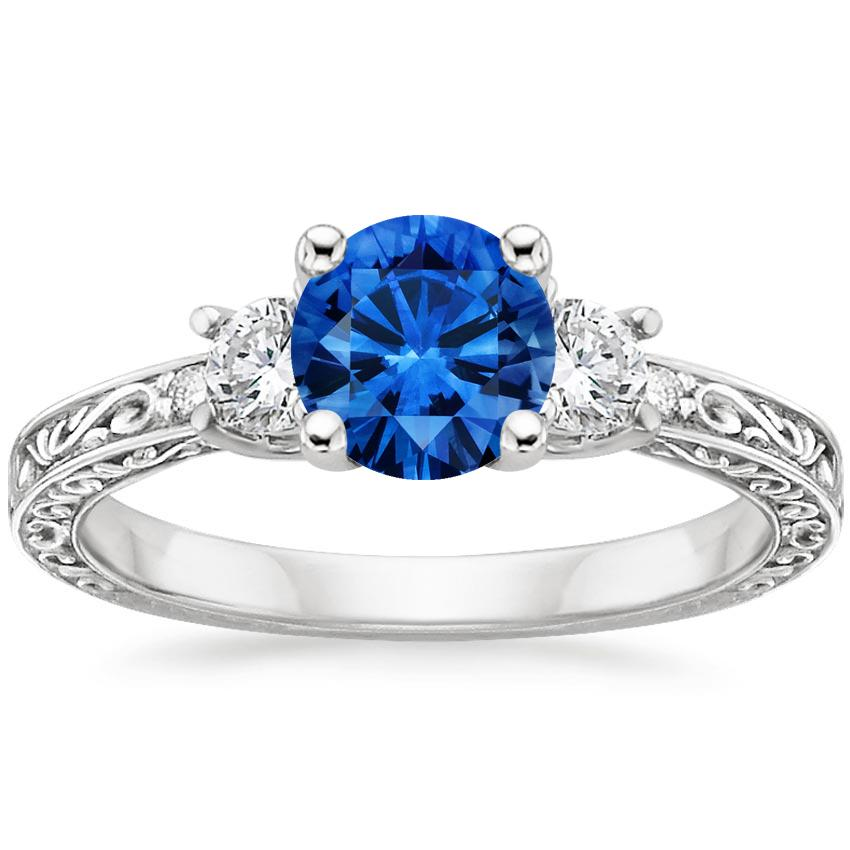 Platinum Sapphire Antique Scroll Three Stone Trellis Ring (1/3 ct. tw.), top view