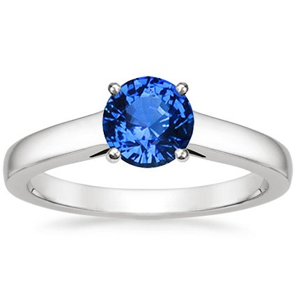 Sapphire Trellis Ring in Platinum with 6mm Round Blue Sapphire