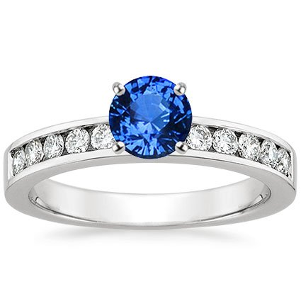 18K White Gold Sapphire Round Channel Diamond Ring, top view