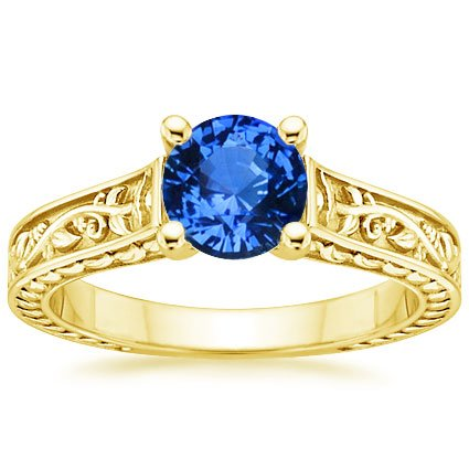 Sapphire Jardinière Ring in 18K Yellow Gold with 6mm Round Blue Sapphire
