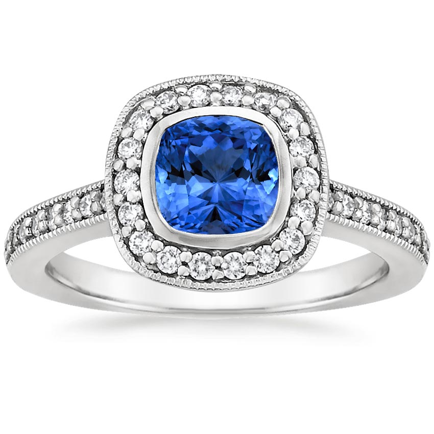 Platinum Sapphire Fancy Bezel Halo Diamond Ring with Side Stones, top view