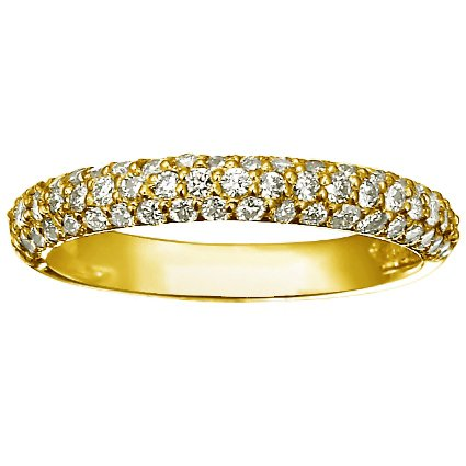 18K Yellow Gold Pavé Diamond Multi Row Ring (over 1/2 ct.tw.), top view