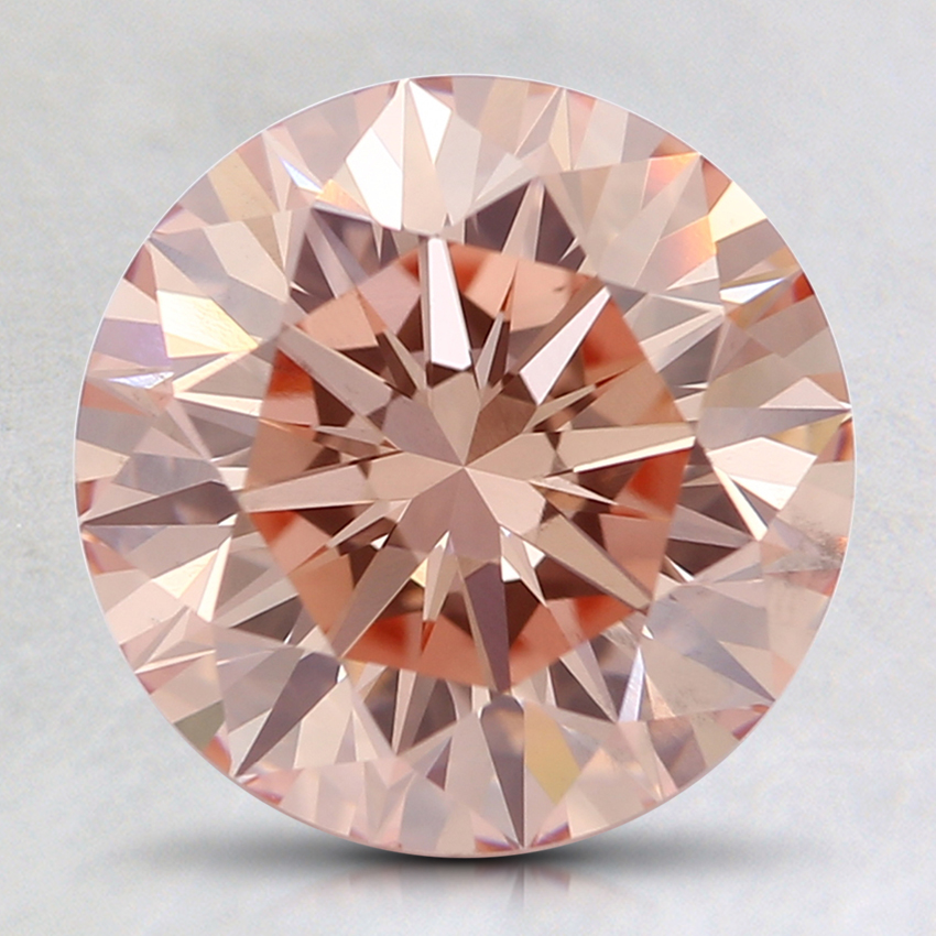 2.36 Ct. Fancy Orangy Pink Round Lab Created Diamond