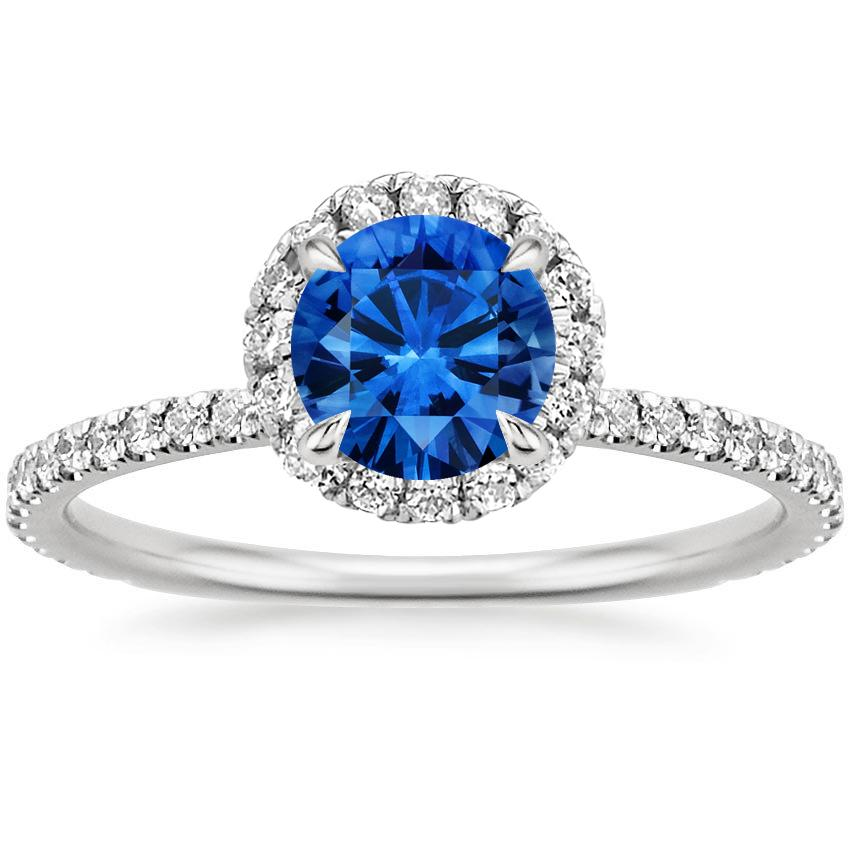 Sapphire Waverly Diamond Ring (1/2 ct. tw.) in 18K White Gold with 6mm Round Blue Sapphire