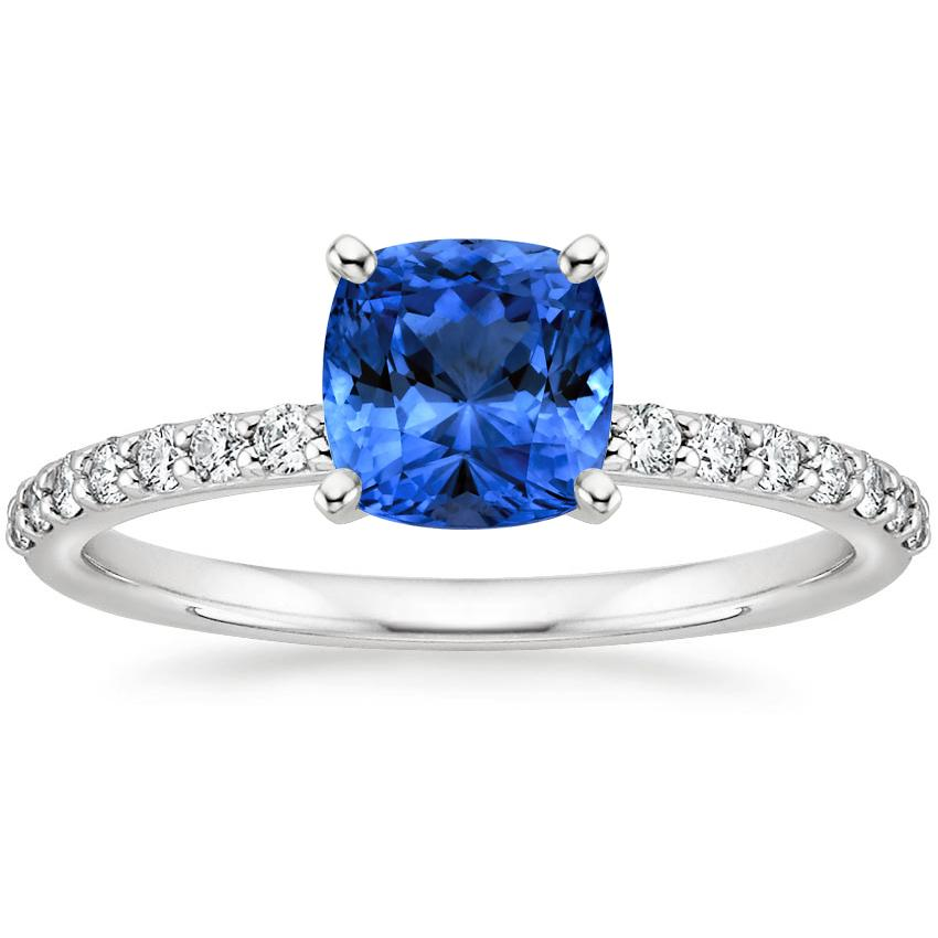 Sapphire Petite Shared Prong Diamond Ring in Platinum with 6x6mm Cushion Blue Sapphire