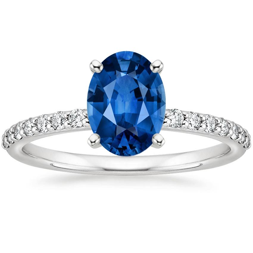 Sapphire Petite Shared Prong Diamond Ring in 18K White Gold with 8x6mm Oval Blue Sapphire