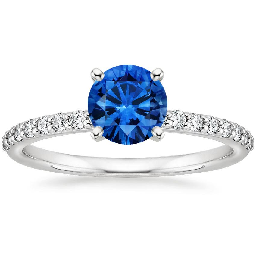 Top Twenty Sapphire Rings - SAPPHIRE PETITE SHARED PRONG DIAMOND RING