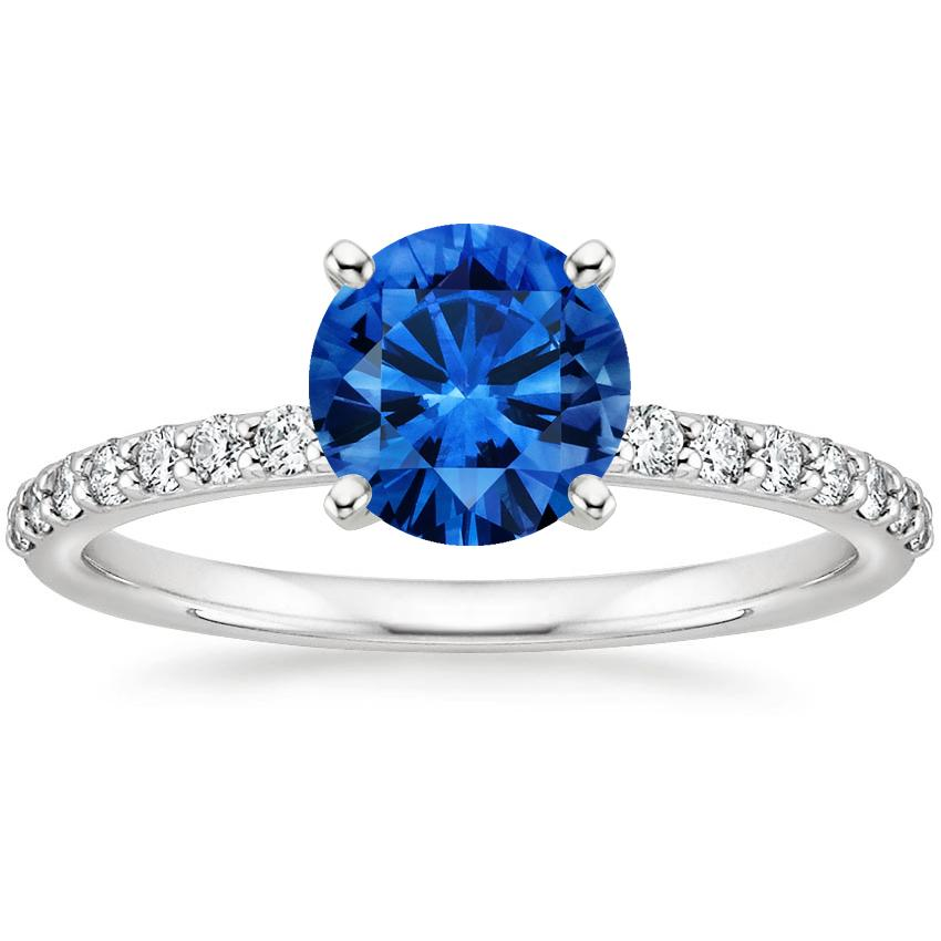 Sapphire Petite Shared Prong Diamond Ring in 18K White Gold with 6.5mm Round Blue Sapphire