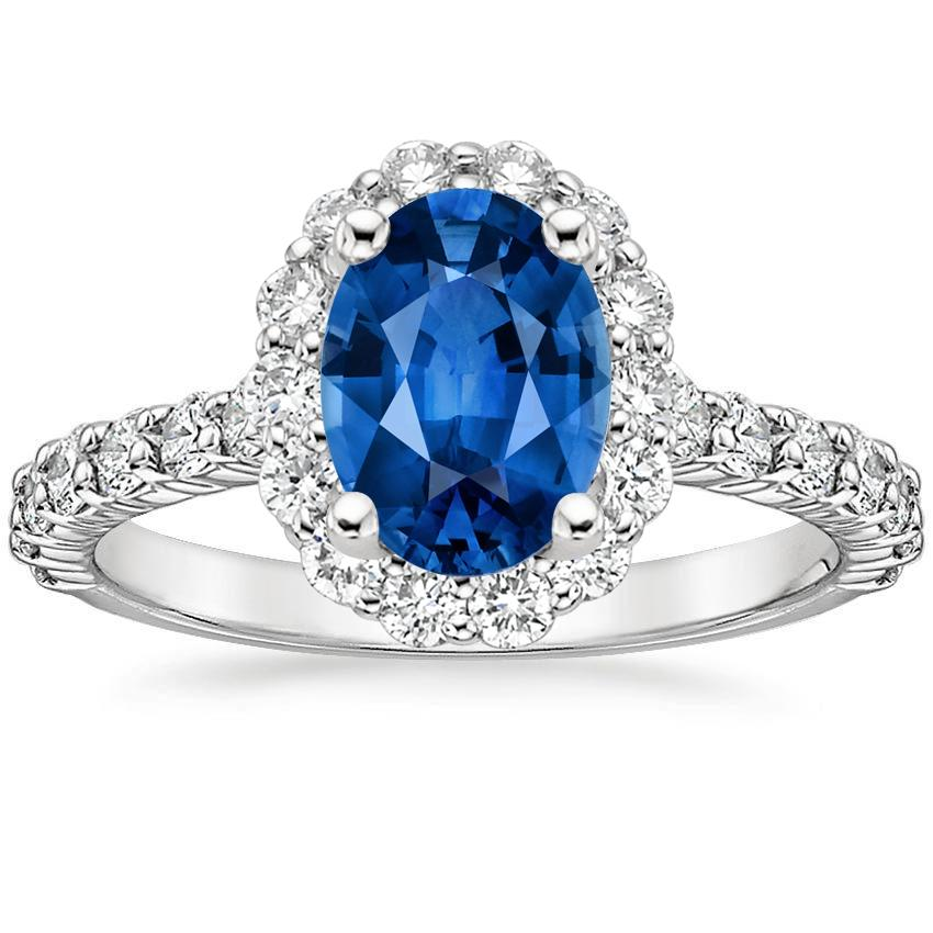 Sapphire Lotus Flower Diamond Ring With Side Stones In 18k