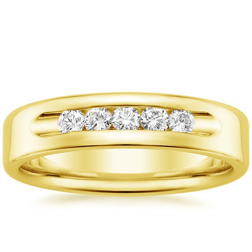 18K Yellow Gold Denali Diamond Wedding Ring, top view