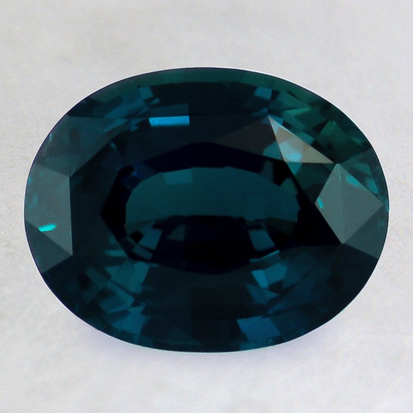 9x7mm Teal Oval Sapphire, top view