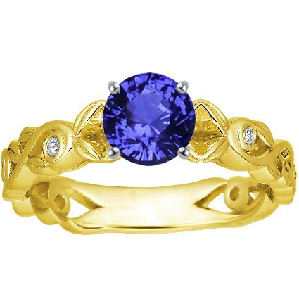 18K Yellow Gold Sapphire Forever Spring Ring, top view
