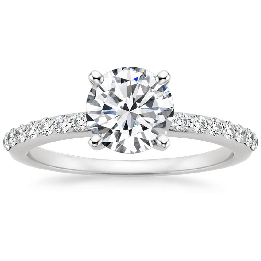 Preset 18K White Gold Petite Shared Prong Lab Created Diamond Ring 1 4 Ct