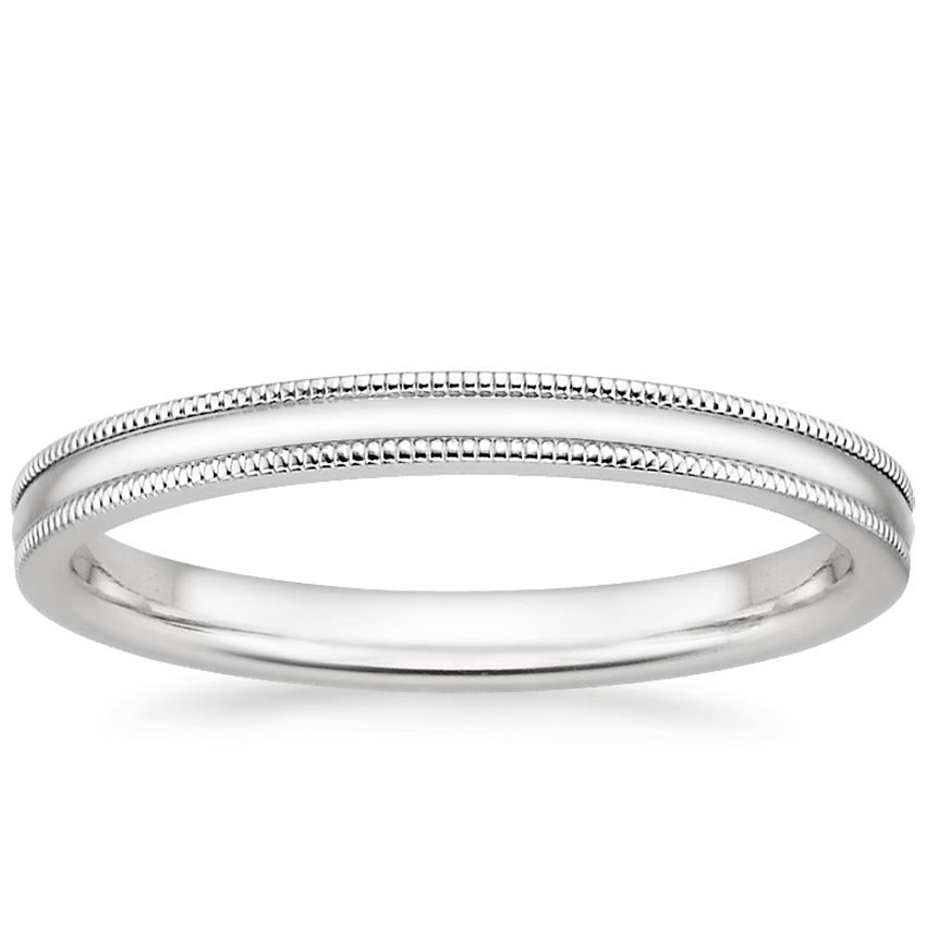 wedding band milgrain platinum store bands