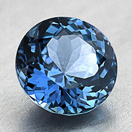7.2mm Unheated Teal Round Sapphire, top view