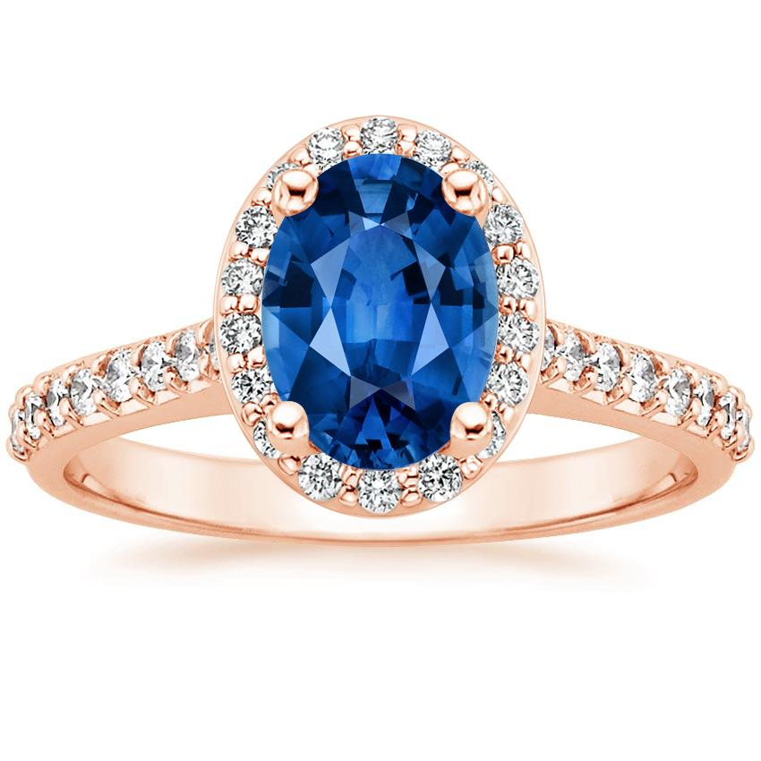 Sapphire Fancy Halo Diamond Ring with Side Stones (2/5 ct. tw.) in 14K Rose Gold with 8x6mm Oval Blue Sapphire