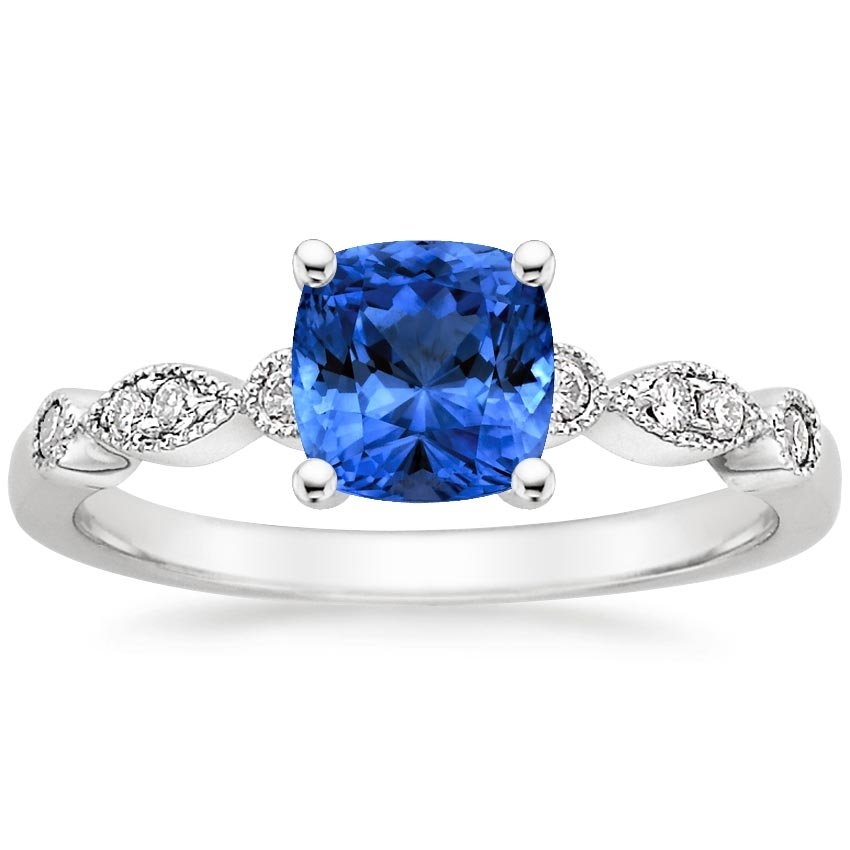 Platinum Sapphire Tiara Diamond Ring, top view